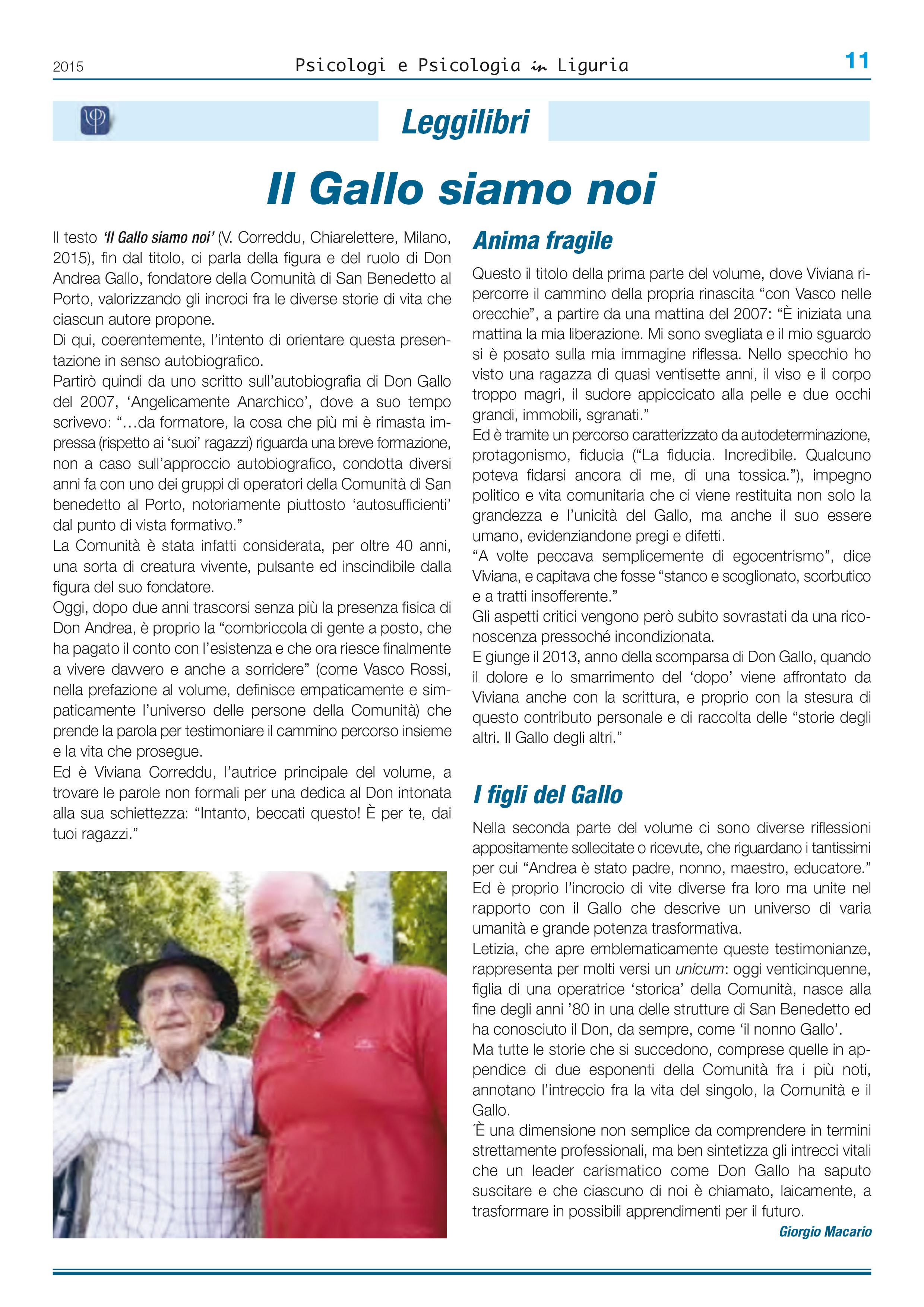 IL GALLO SIAMO NOI – rubrica 'Leggilibri'
