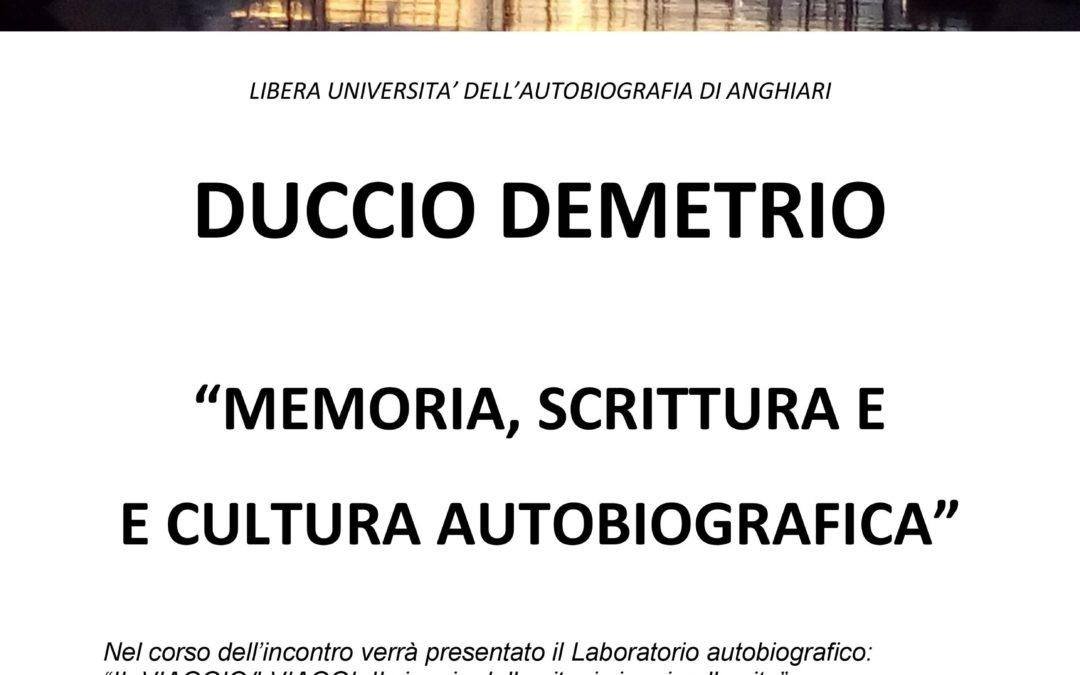 MEMORIA, SCRITTURA E CULTURA AUTOBIOGRAFICA – Duccio Demetrio a Genova il 4.4.2019